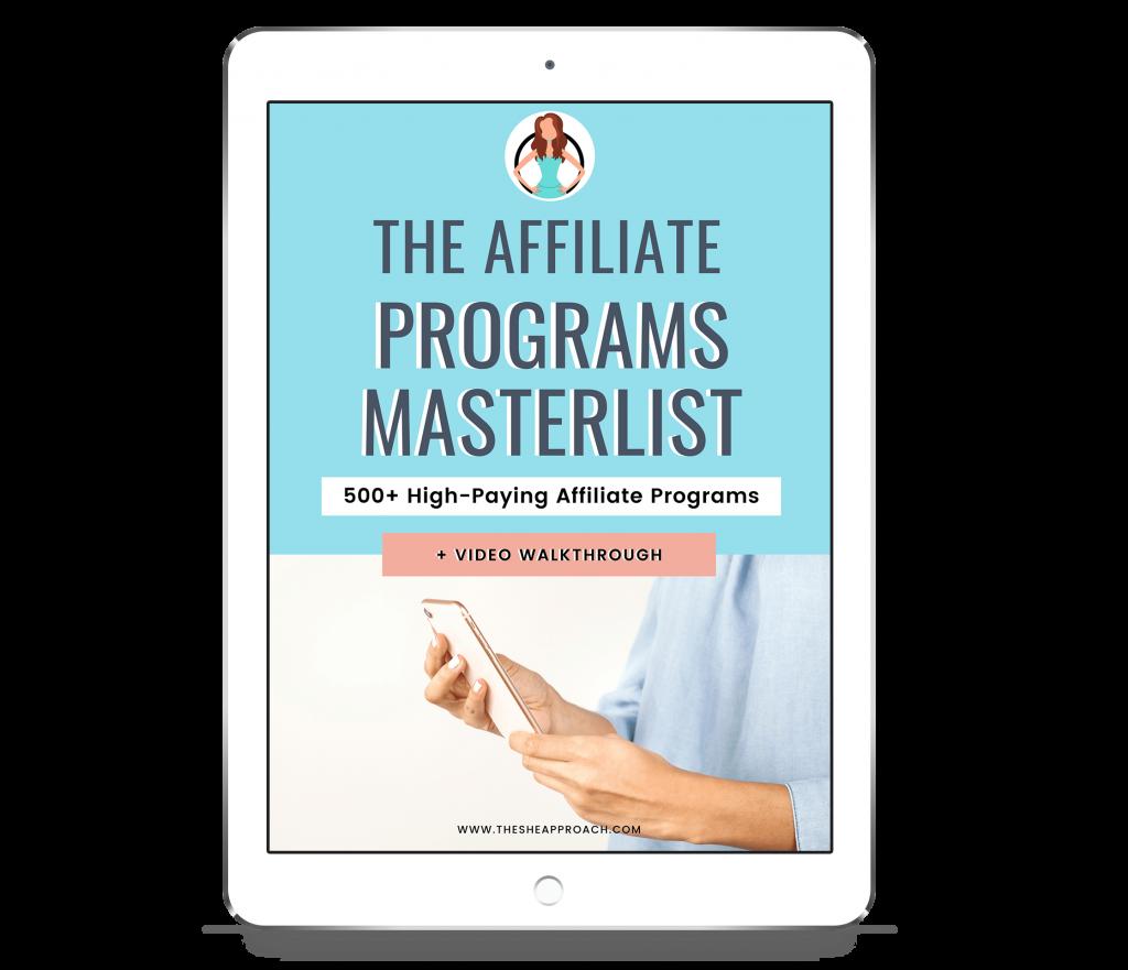 affiliate programs masterlist